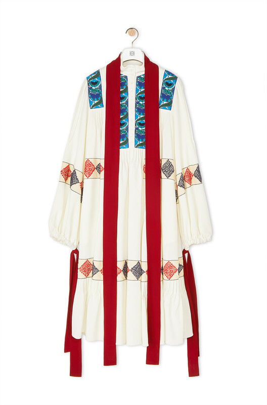 LOEWE Embroidered Oversize Dress Ecru front
