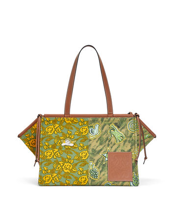 LOEWE Paula Cushion Tote Prints Large Green/Yellow front