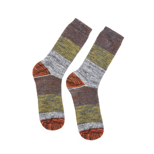 LOEWE Eln Socks Khaki Green/Orange front