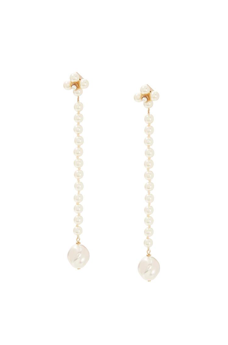 LOEWE Pendientes de perlas en piel Blanco pdp_rd