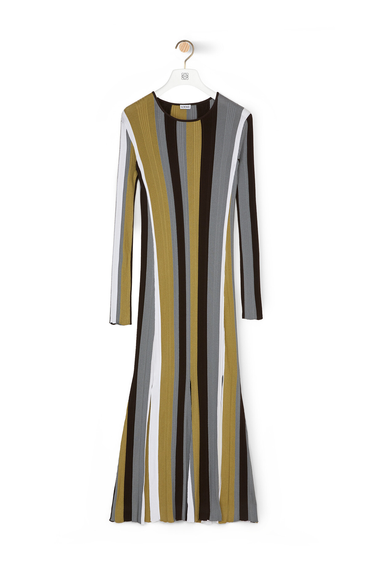 LOEWE Ribbed Stripe Knit Dress Brown/White front