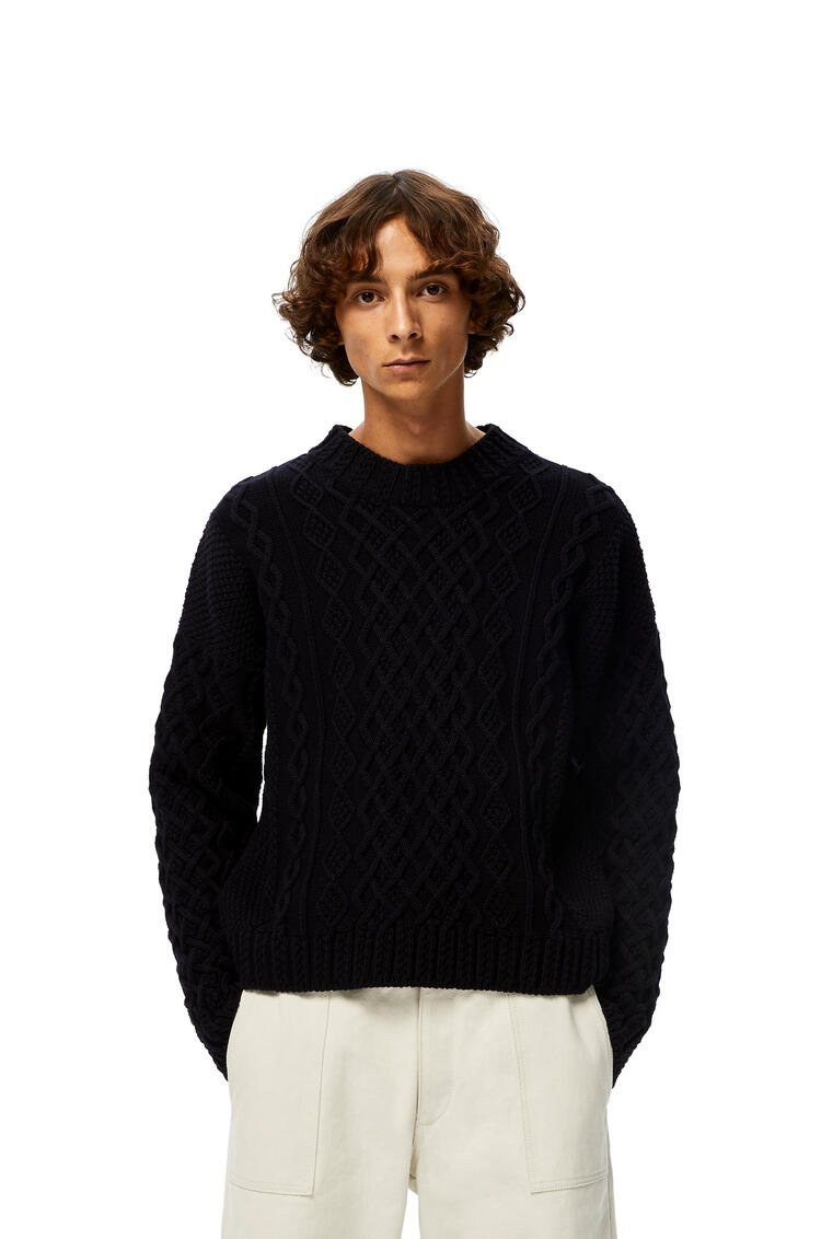 LOEWE Cable sweater in cotton Navy Blue pdp_rd