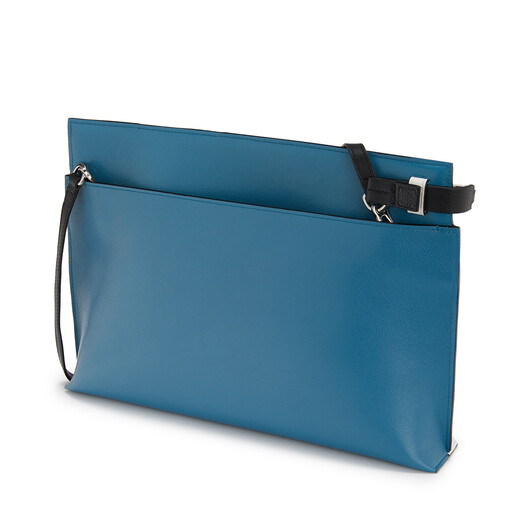 LOEWE T Pouch Cowboy Bag Black/Light Blue front