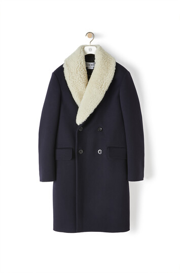 LOEWE Shearling Collar Coat Dark Navy Blue front