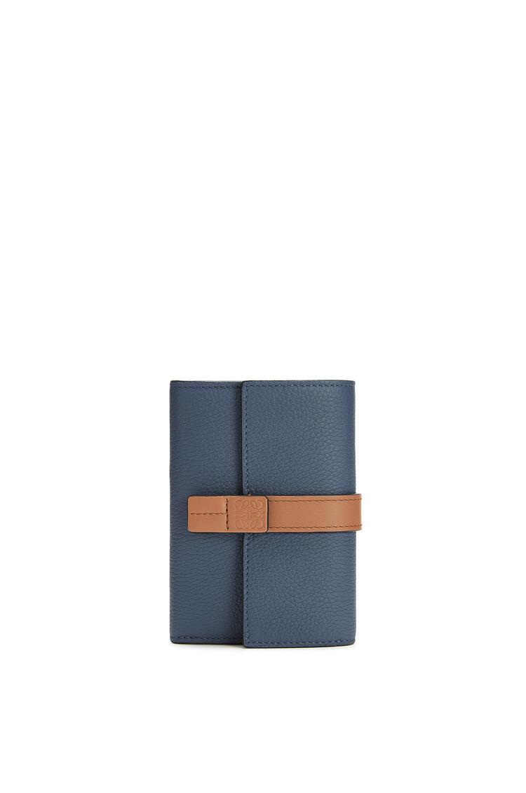 LOEWE Small vertical wallet in soft grained calfskin Steel Blue/Tan pdp_rd