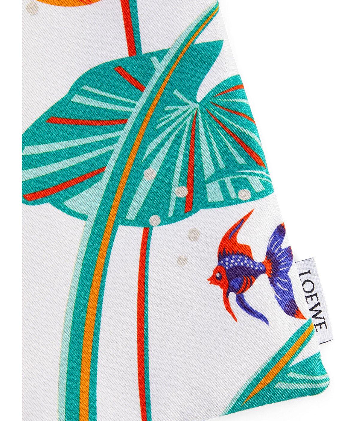 LOEWE Bolsa En Lona Con Estampado De Nenúfares Y Cordón Aqua/Blanco front
