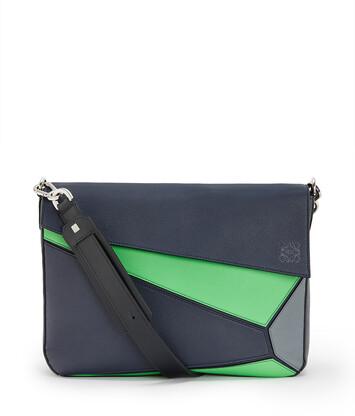 LOEWE Bolso Puzzle Messenger Azul Profundo/Verde front