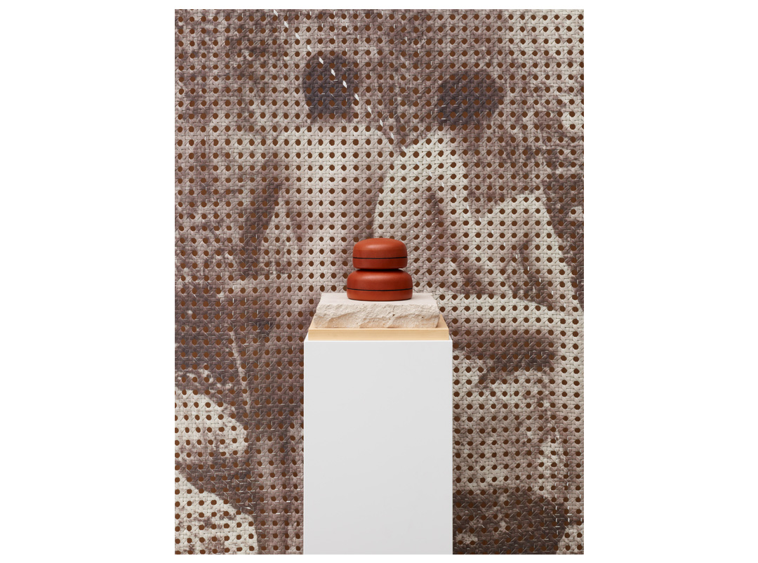 Vintage Boys Photo Print Feather-Covered Organza Silk Tapestry | Medium Multi-Use Round Leather Box