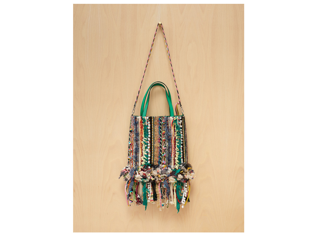 Green Calf Tote with Ultra-Textured Ribbon Embroidery