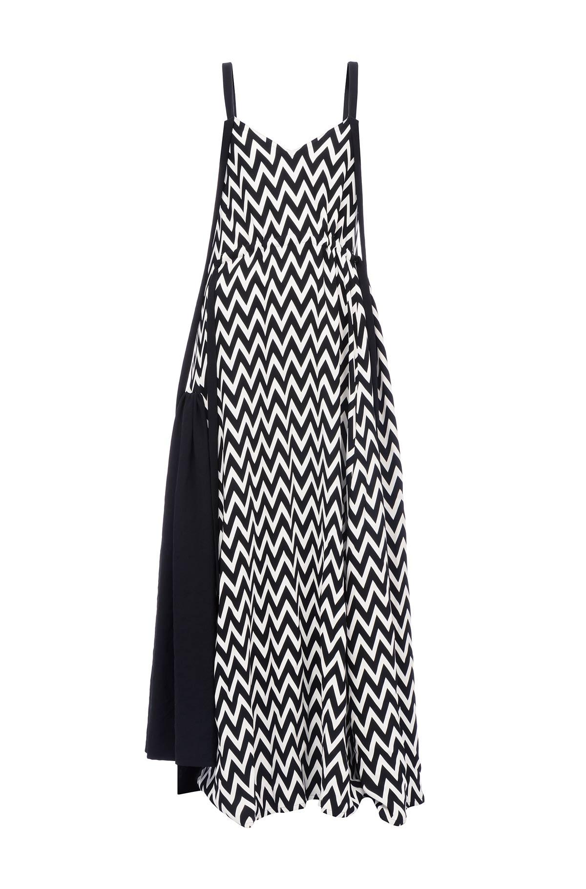 LOEWE Herringbone Camisole Dress Black/White front
