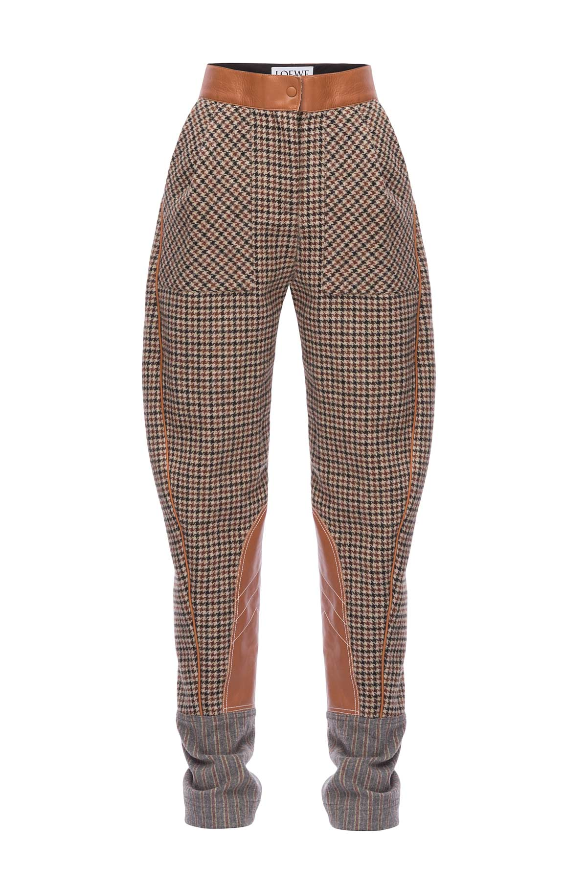 LOEWE Check Carrot Trousers Marron/Bronceado front