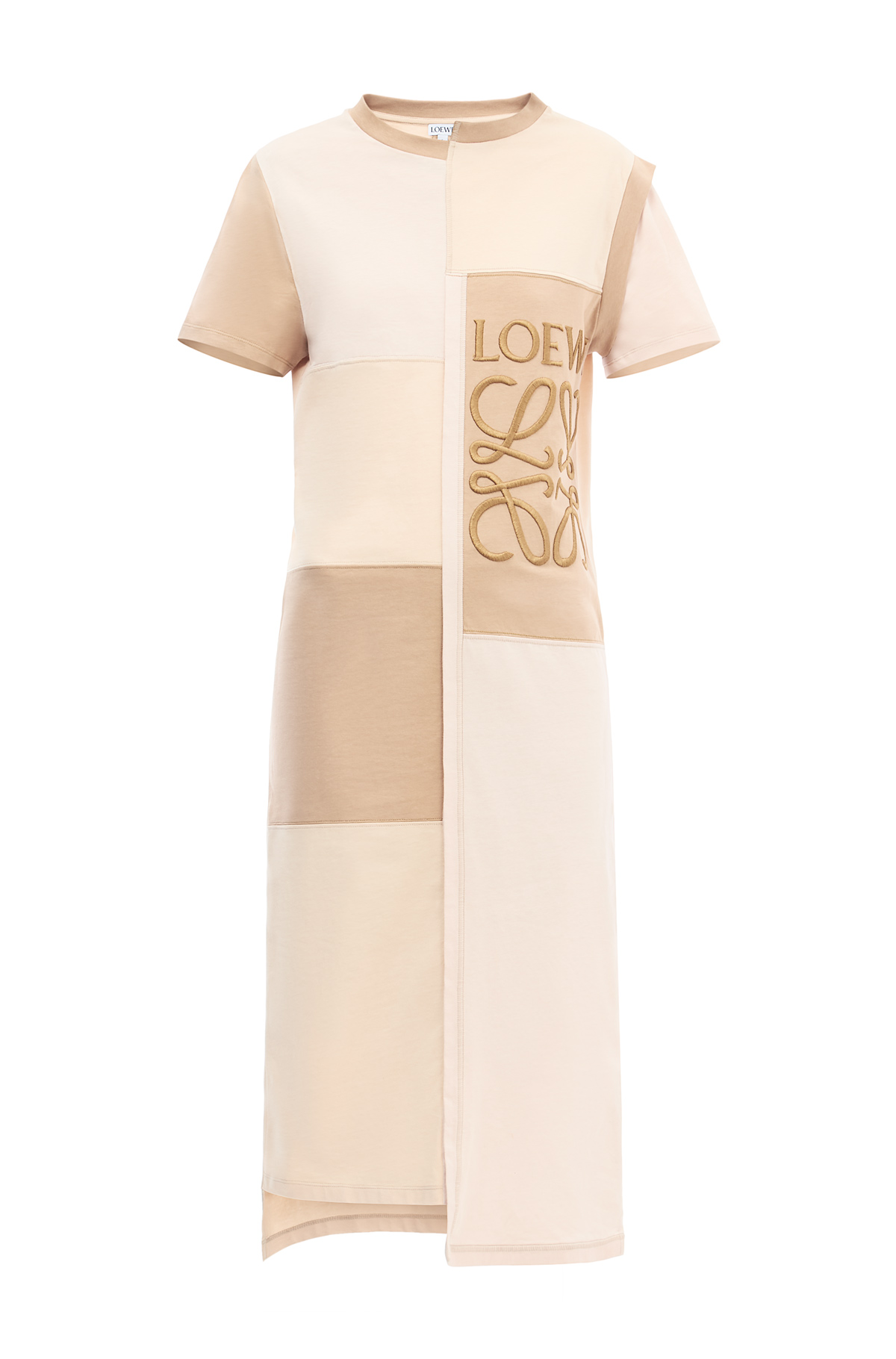 LOEWE Patchwork T-Shirt Dress Beige front