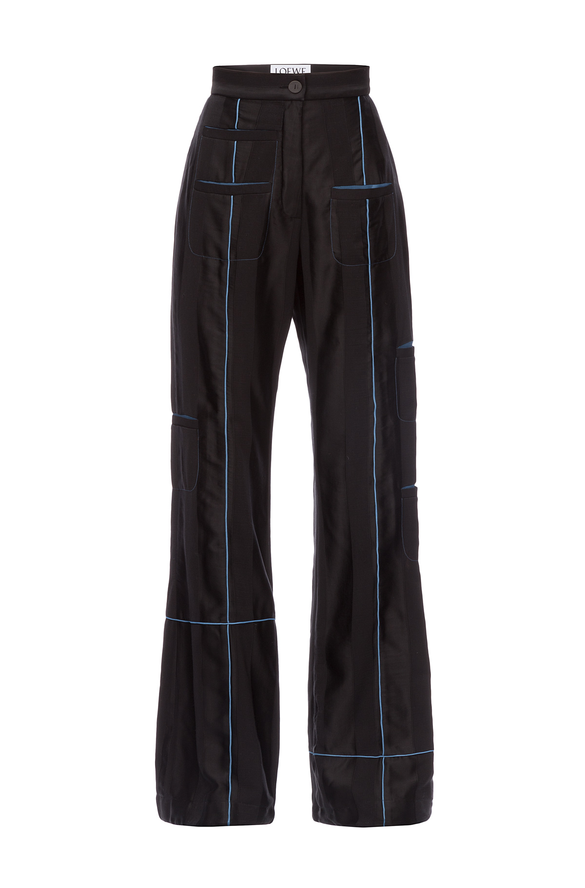 LOEWE Blue Piping Trousers Pockets Black front