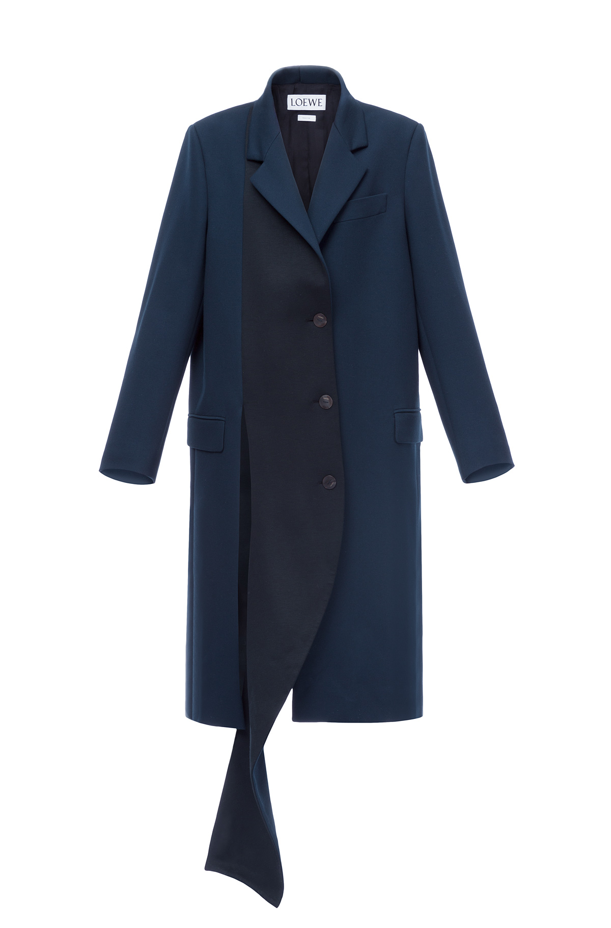 LOEWE Asymmetric Jersey Coat Black/Dark Navy front