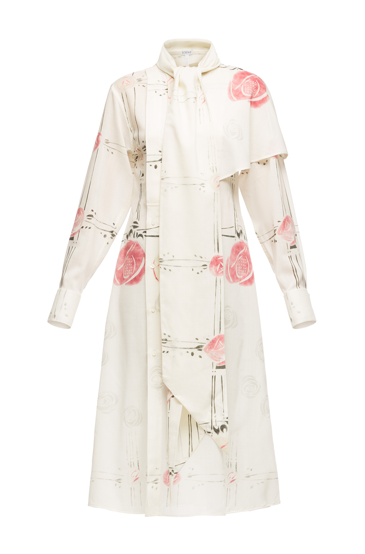 LOEWE Shirtdress Roses Ecru/Multicolor front