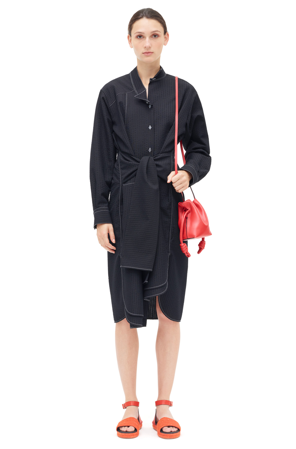 LOEWE Shirtdress Seersucker Black front