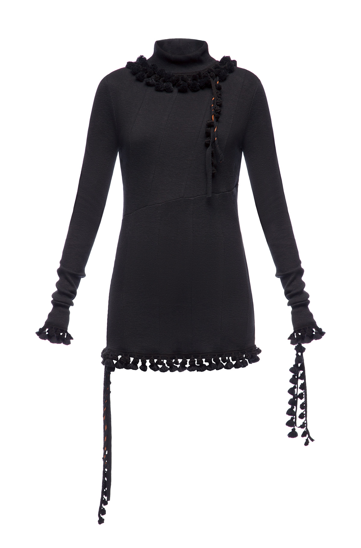 LOEWE Rib Jersey Top Pompons Black front