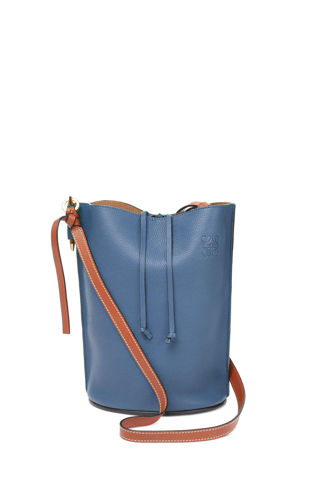 LOEWE Gate Bucket Bag Varsity Blue/Pecan Color front
