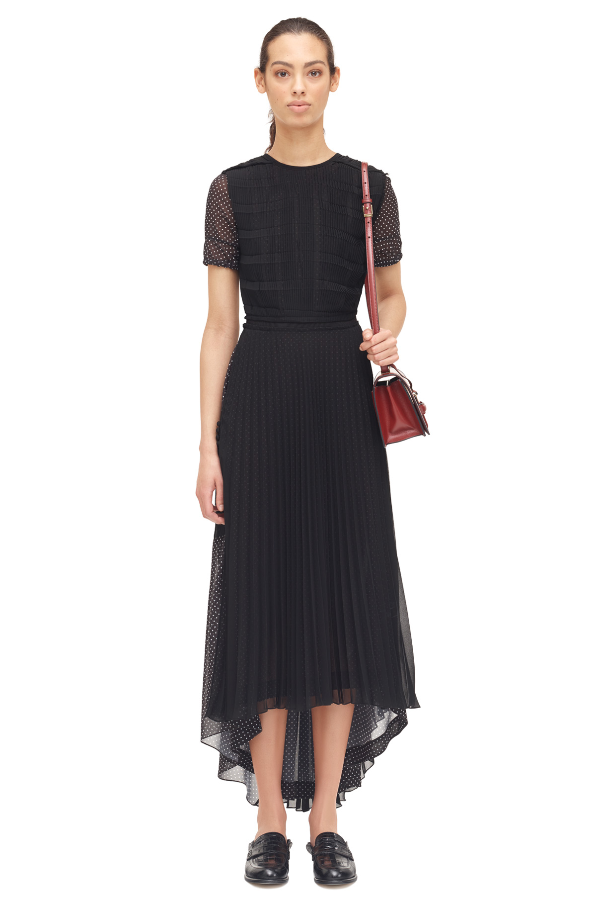 LOEWE Polka Dot Long Dress Black front