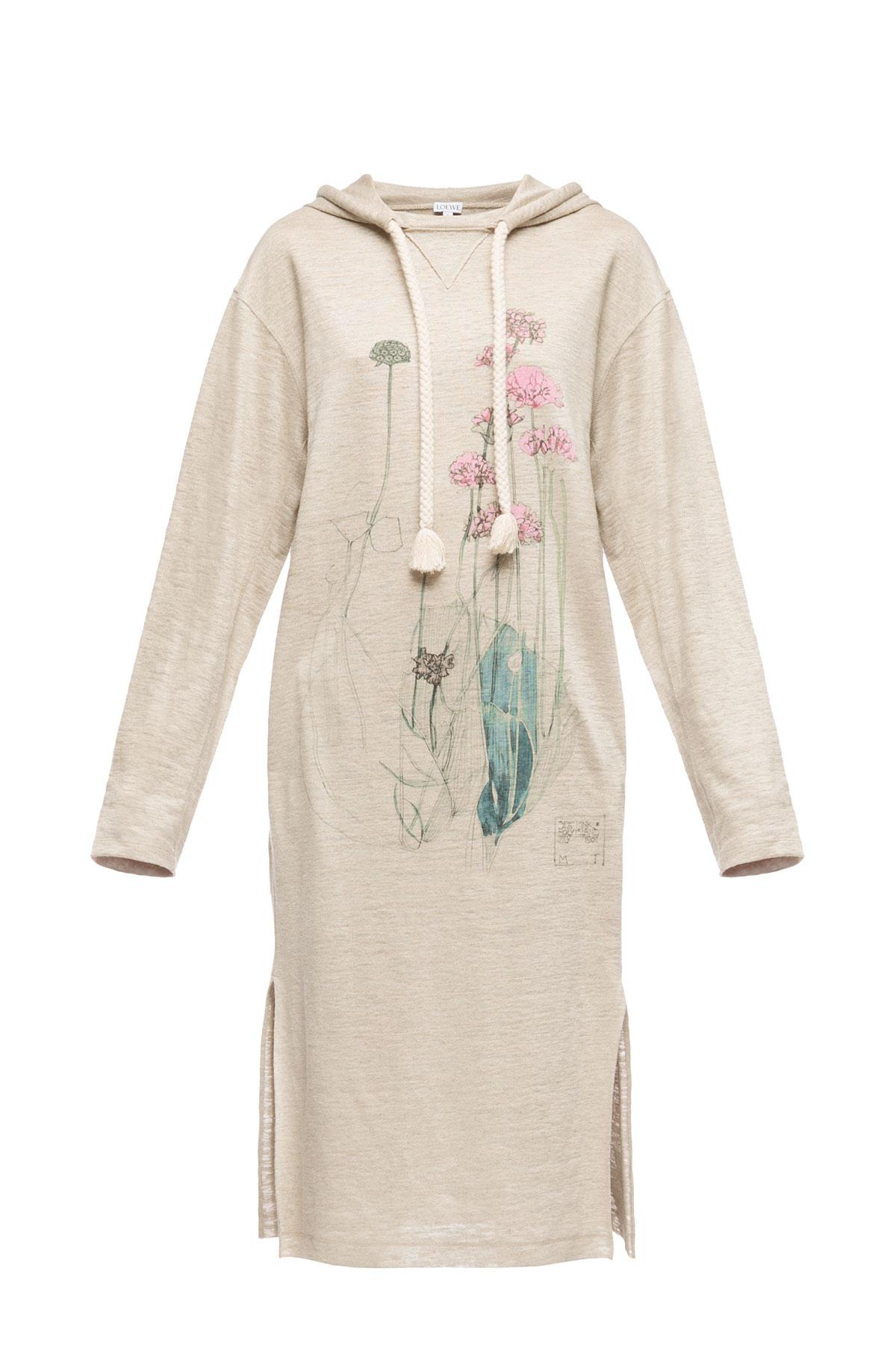 LOEWE Hoodie Dress Botanical Beige front