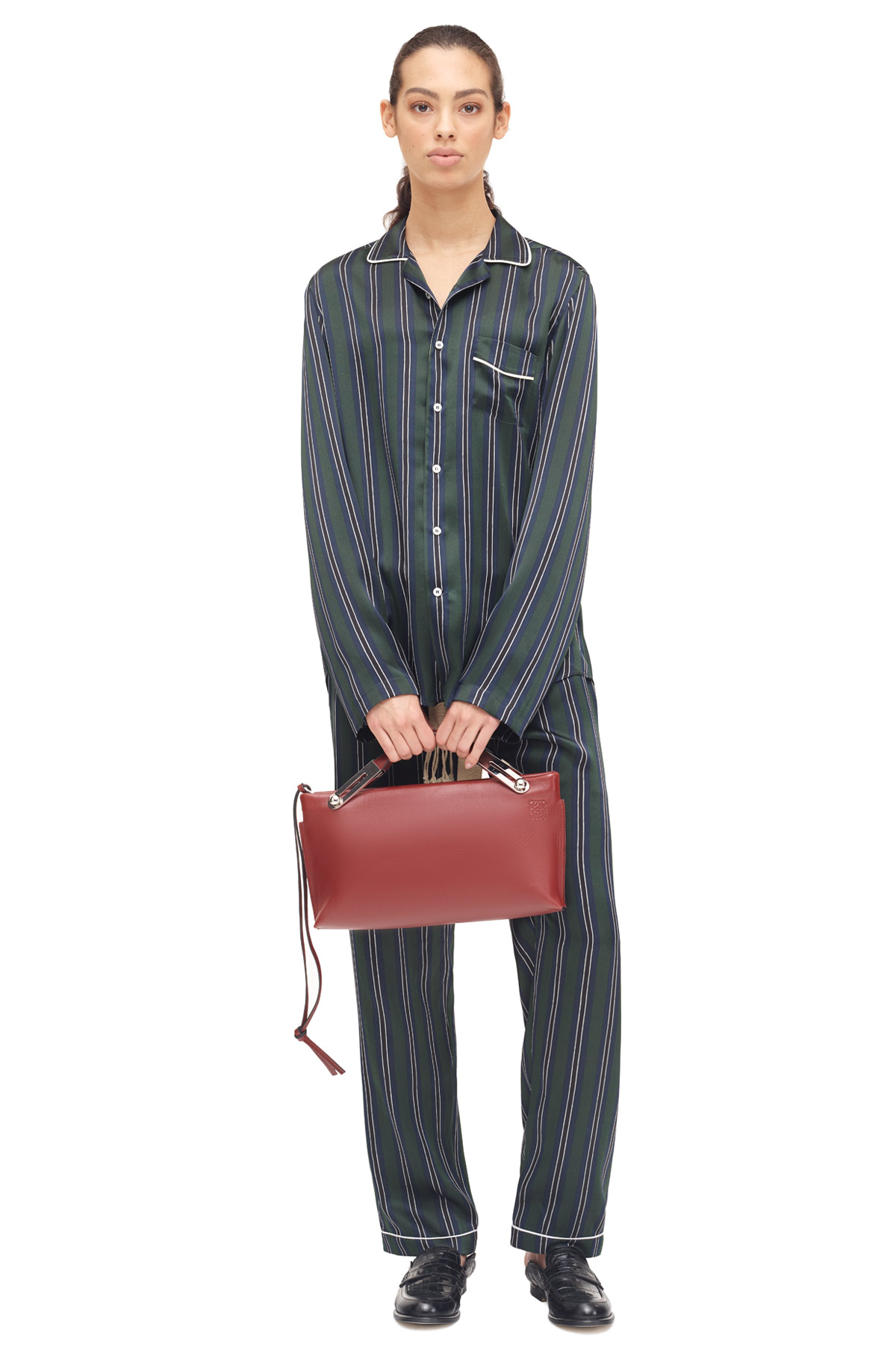 LOEWE Stripe Pyjama Trousers Green/Navy Blue front