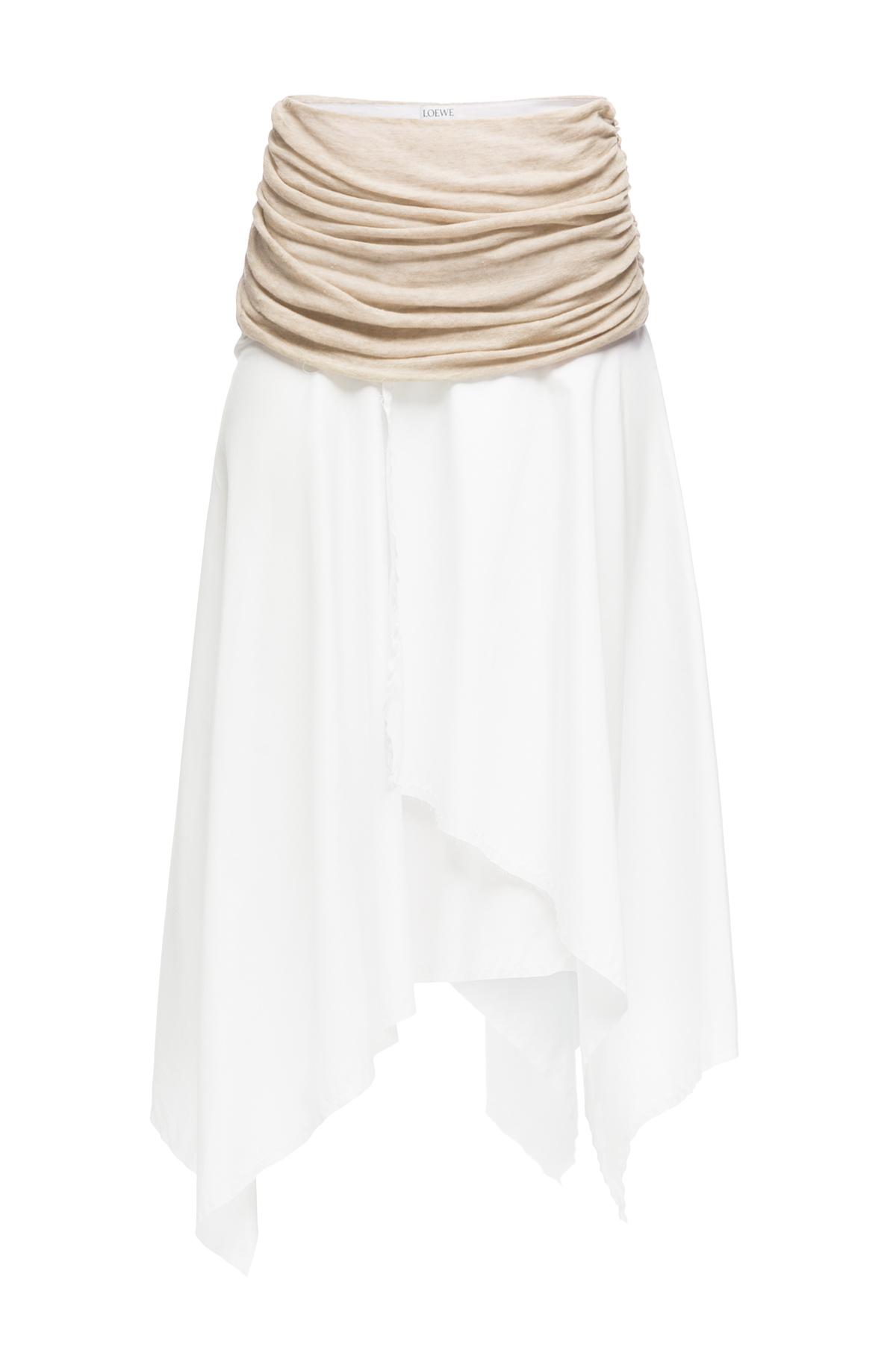LOEWE アシメトリックスカート ホワイト/ベージュ front