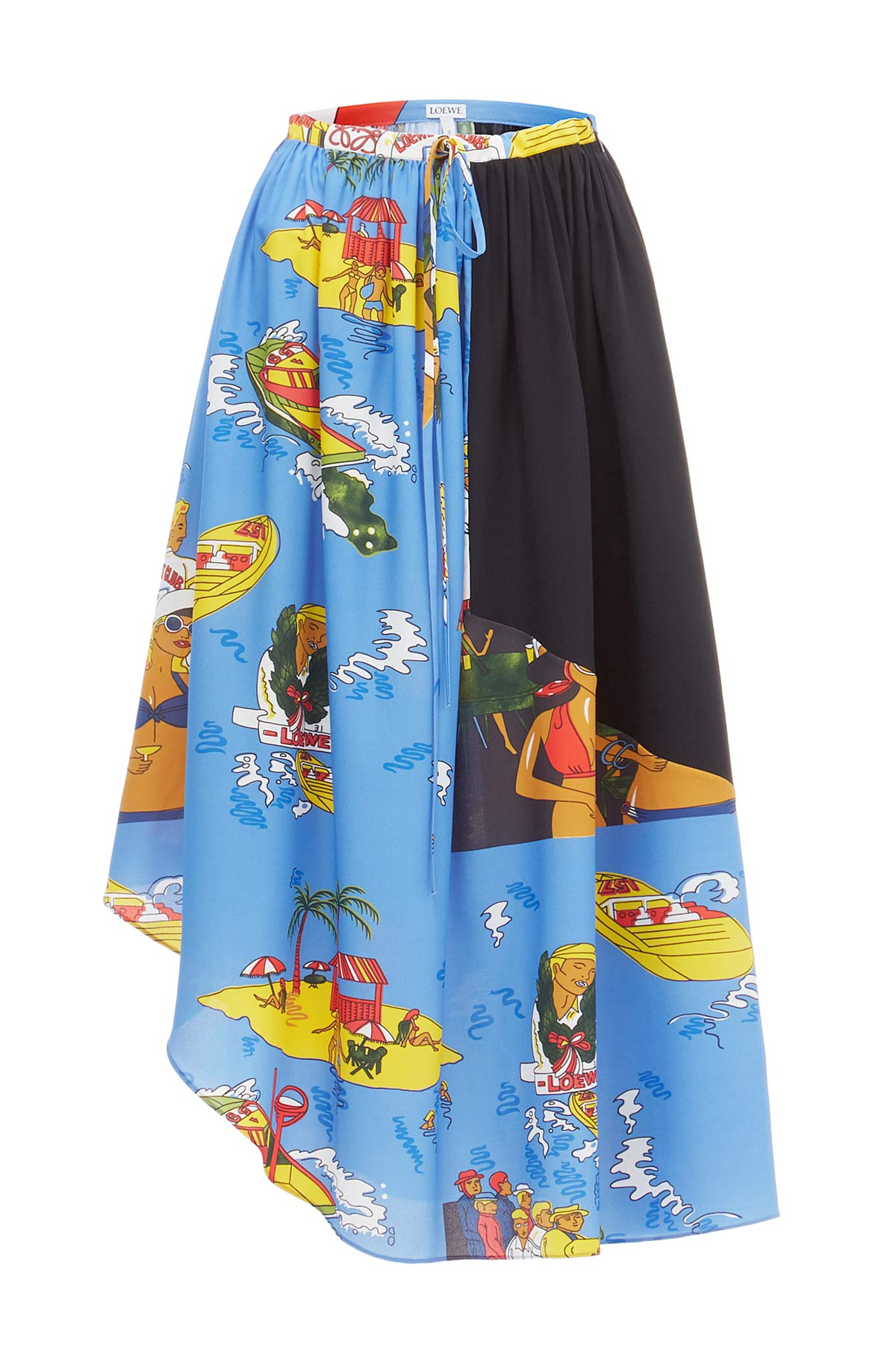 LOEWE Holiday Asymmetric Skirt Blue/Multicolor front