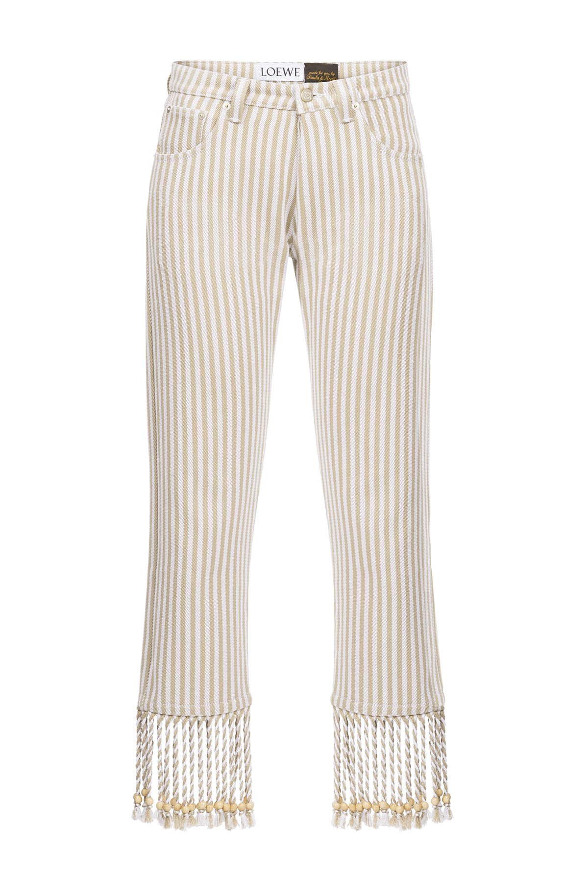 LOEWE 5 Pockets Paula Stripes Sand/White front