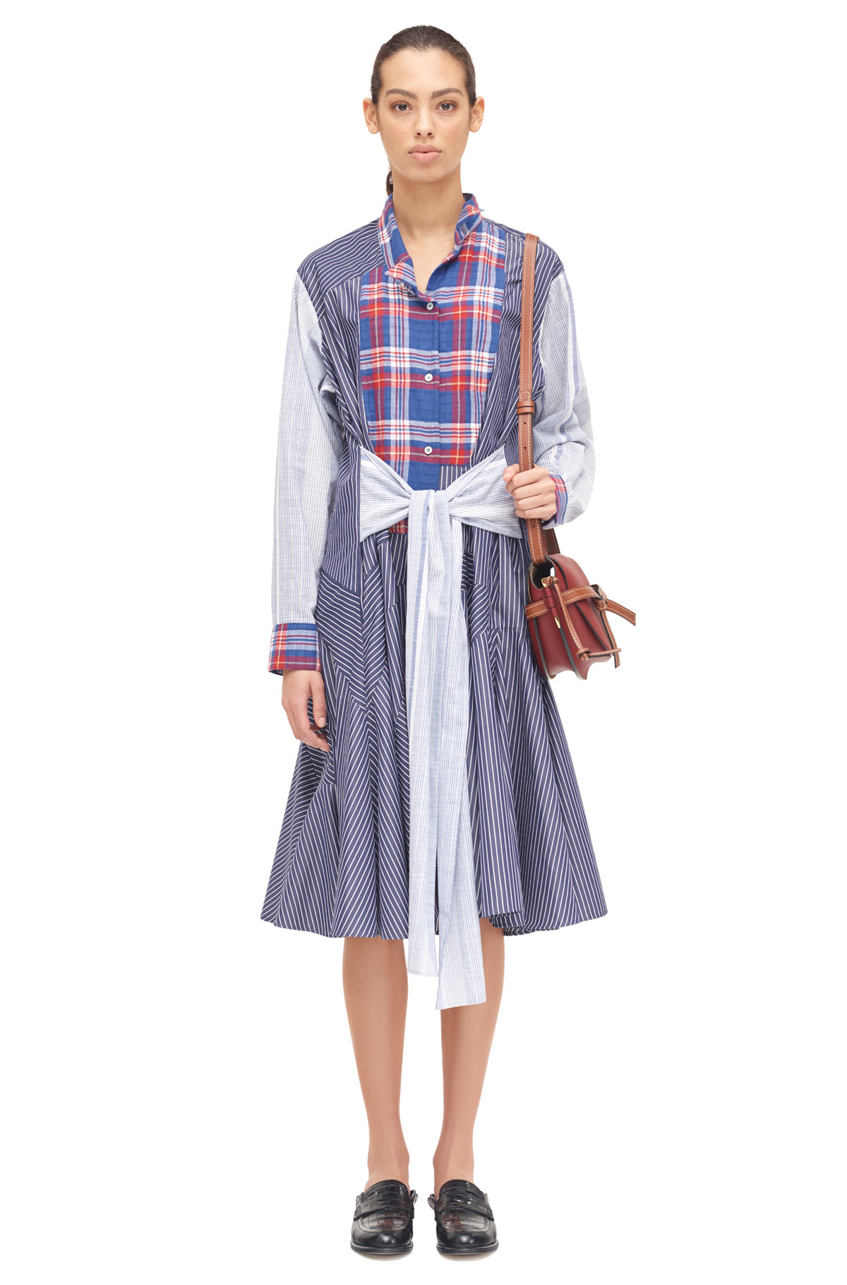 LOEWE Check & Stripe Shirtdress Blue/Red/White front