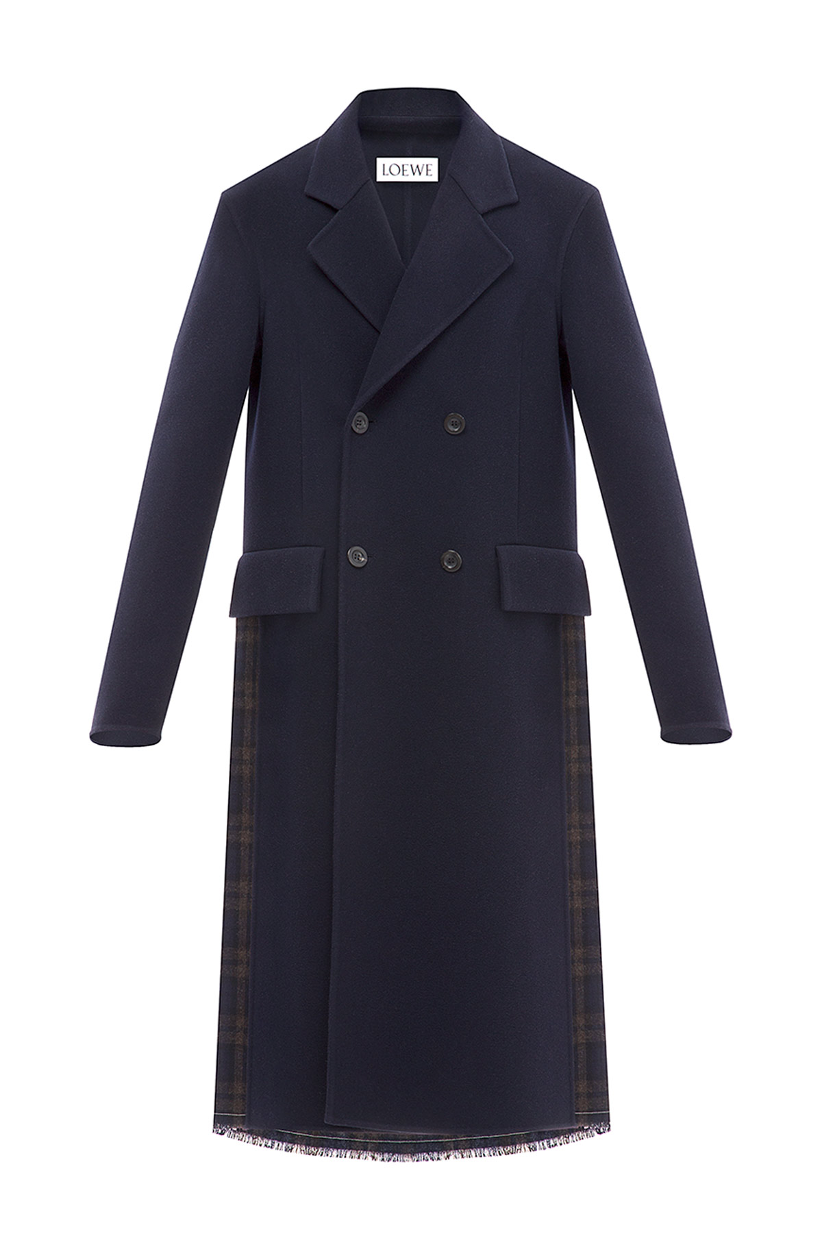 LOEWE Long Coat Pleated Check Back Dark Navy Blue front