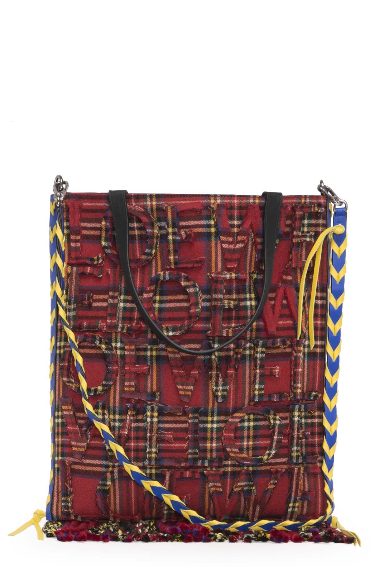 LOEWE Vertical Tote Tartan Bag Red/Black front