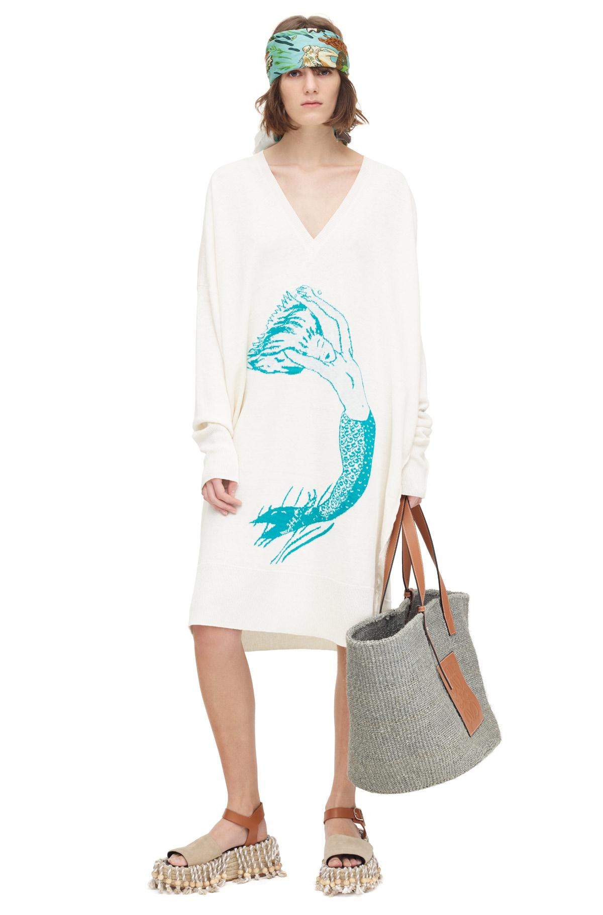 LOEWE V Neck Sweater Paula Mermaid White/Turquoise front