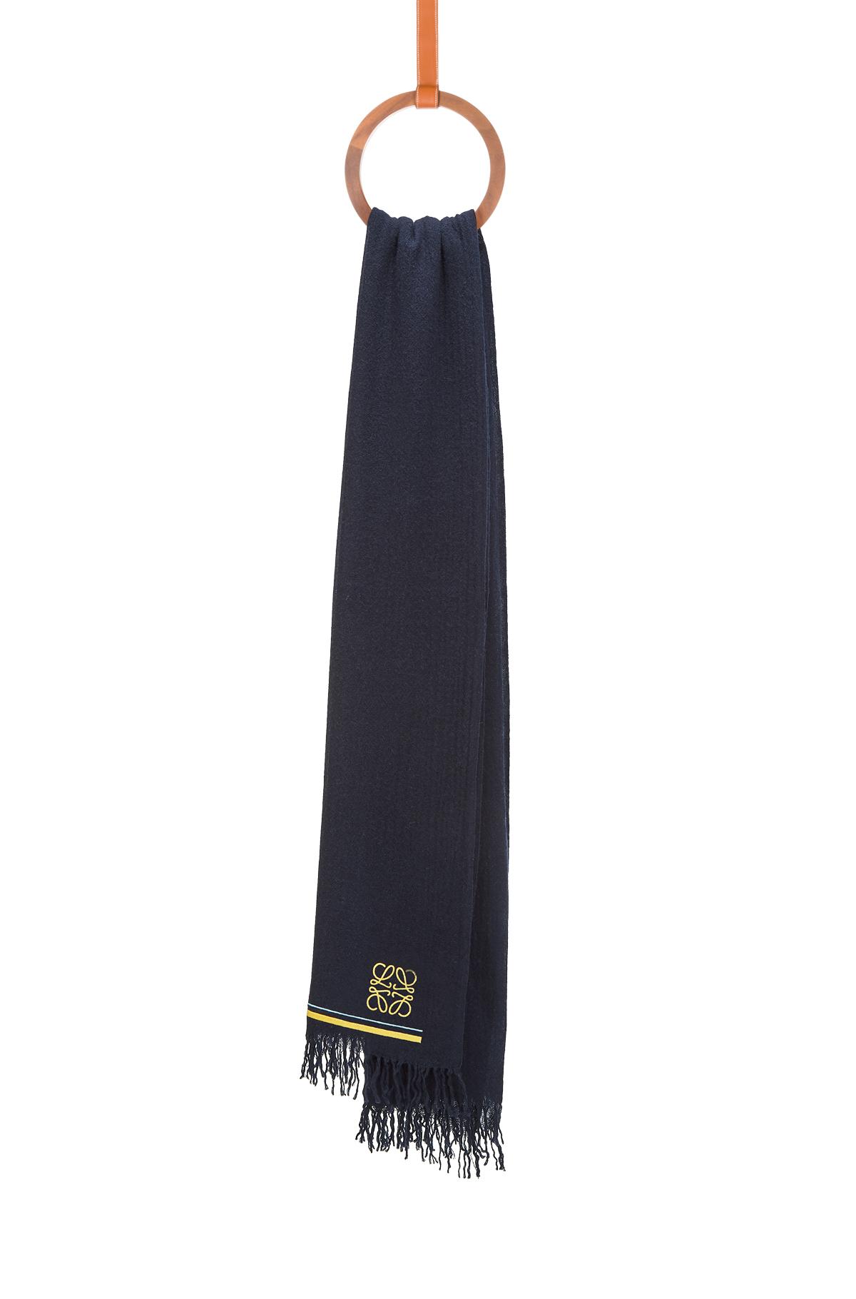 LOEWE 65X200 スカーフアナグラムストライプ ネイビーブルー front