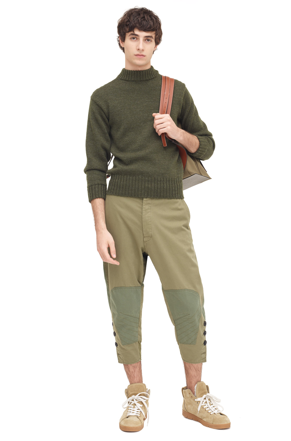 LOEWE Cropped Button Trousers Khaki Green front