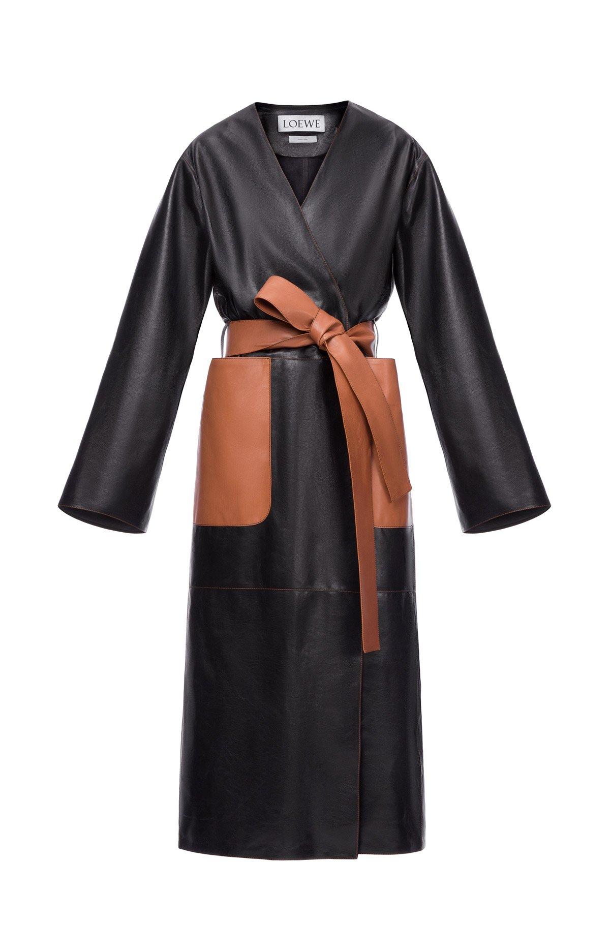 LOEWE Long Coat Black/Tan front