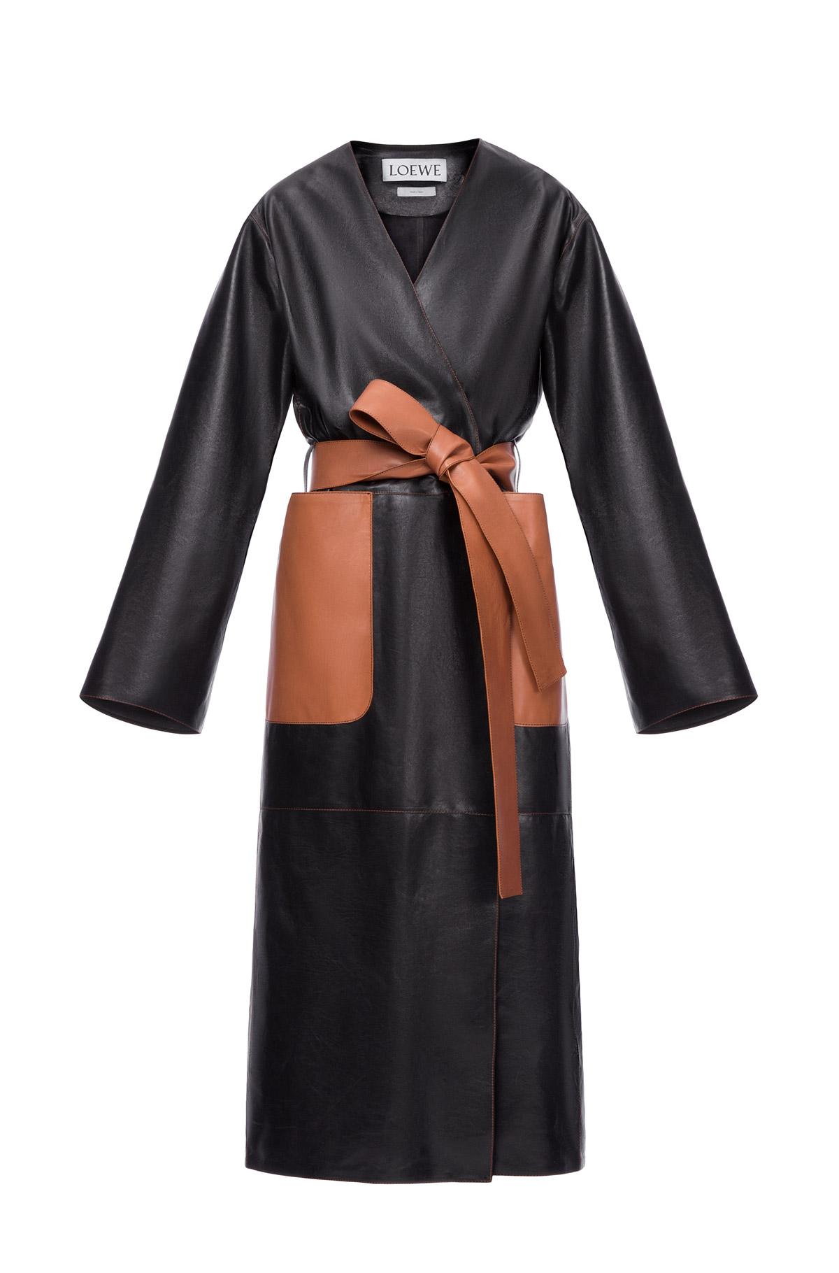 LOEWE Long Coat ブラック/タン front