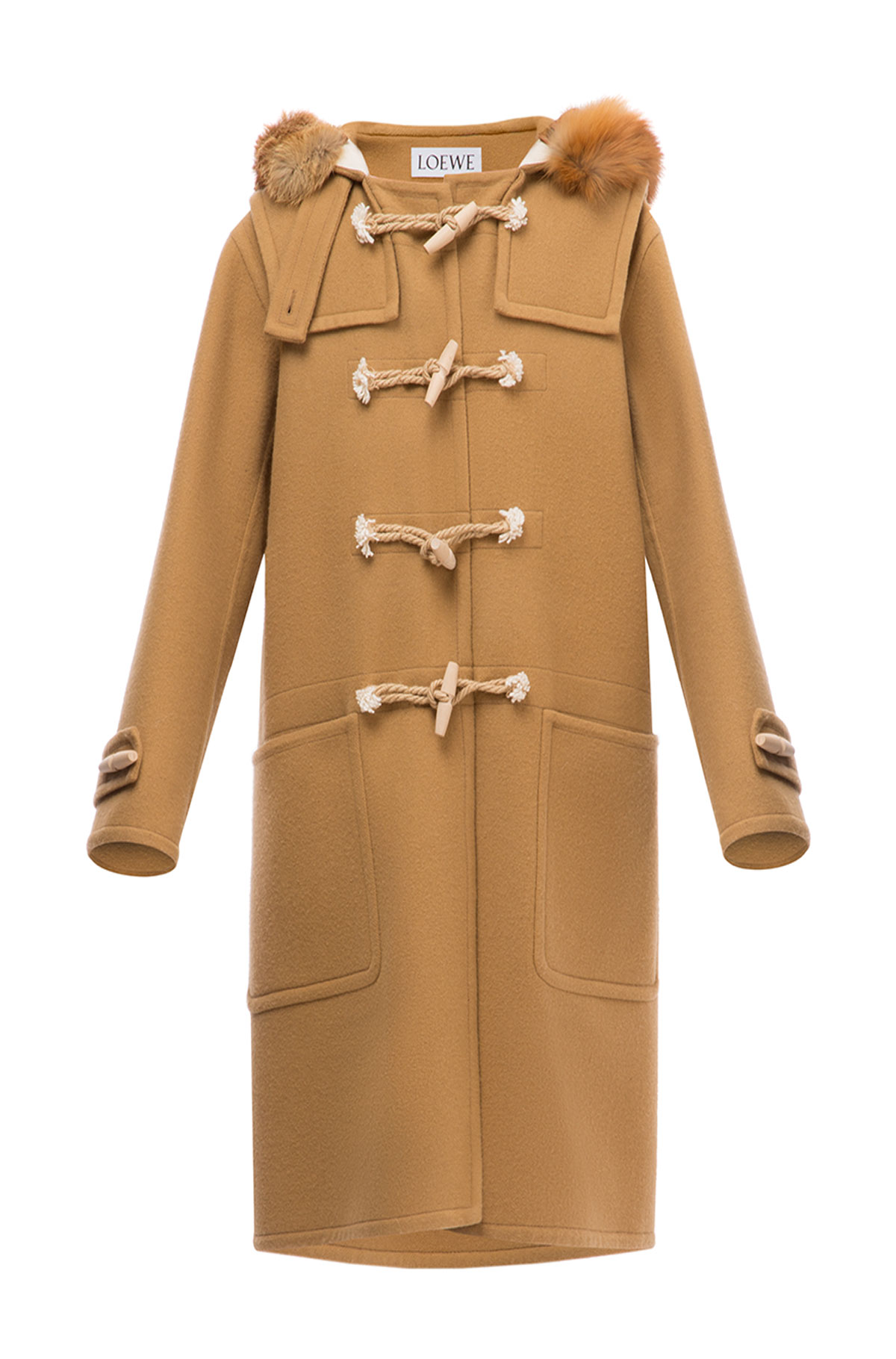 LOEWE Duffle Coat Fox Trim Hood Camel front