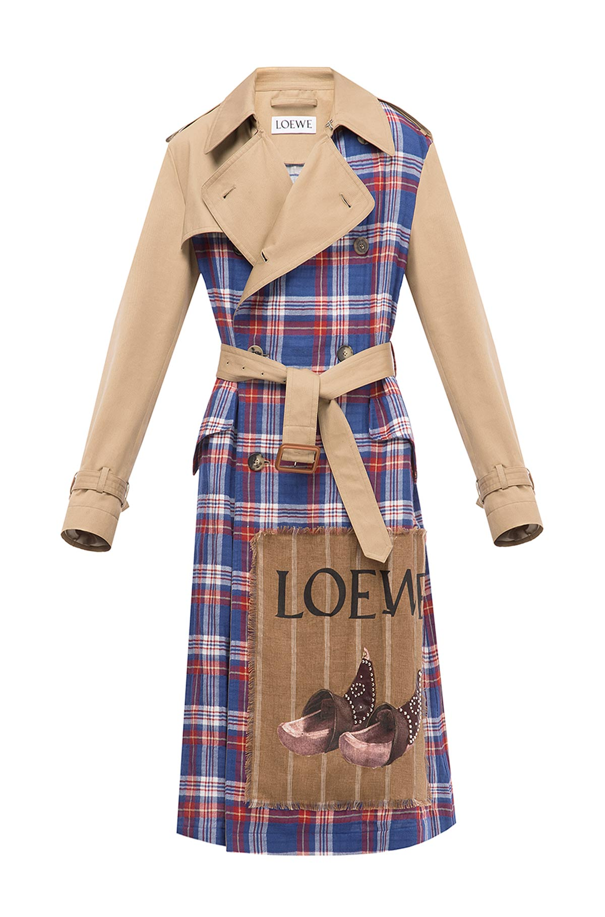 LOEWE Check Trenchcoat Camel front