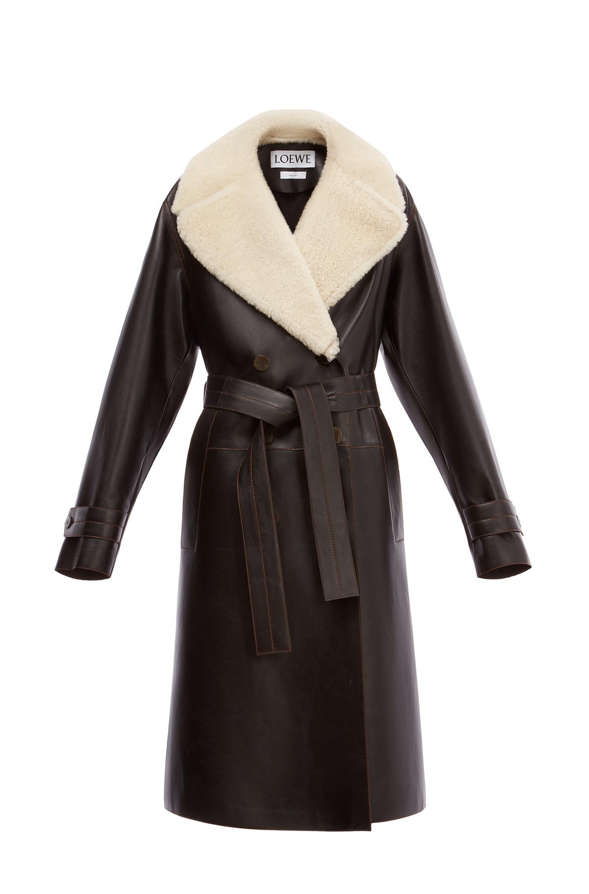 LOEWE Belted Coat Shearling Collar Black/Natural front