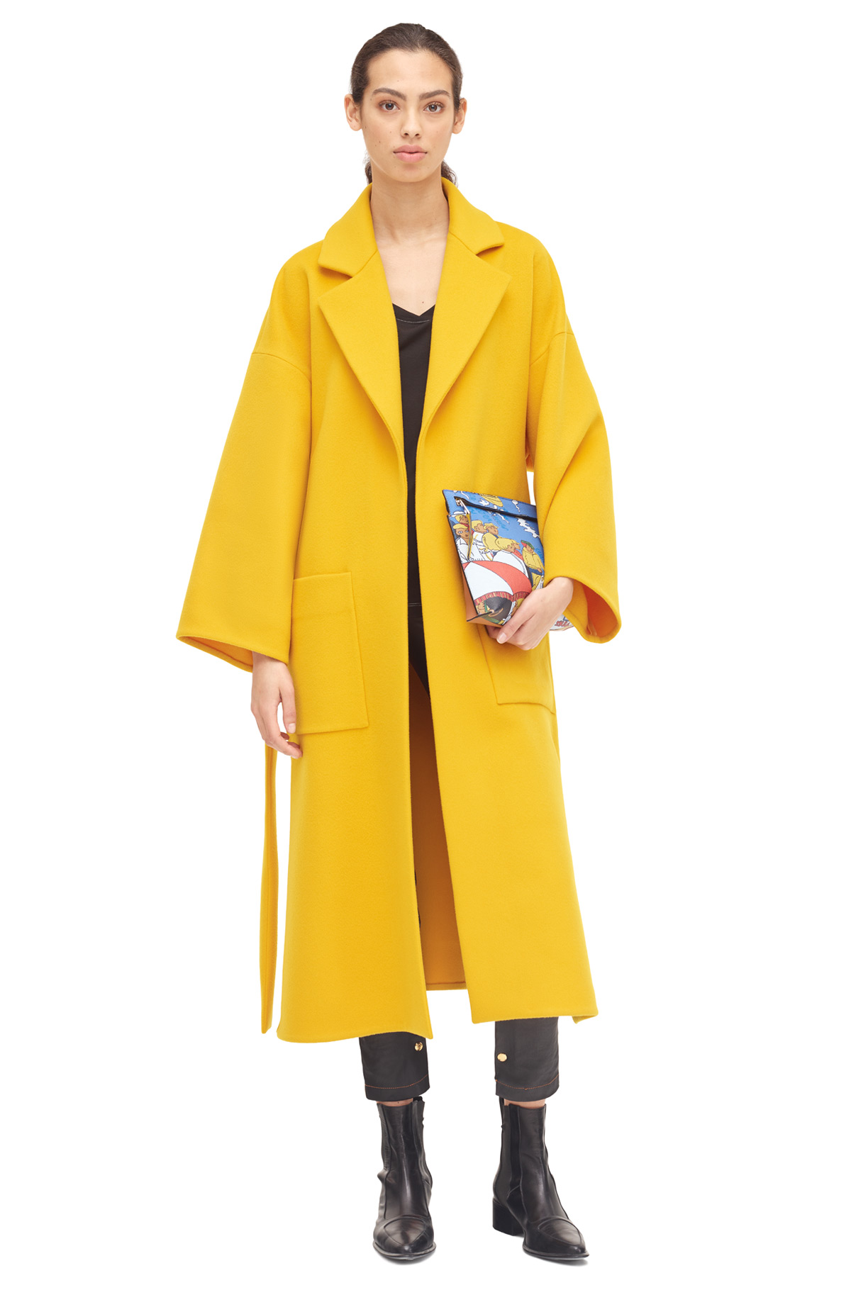 LOEWE Oversize Belted Coat Yellow front