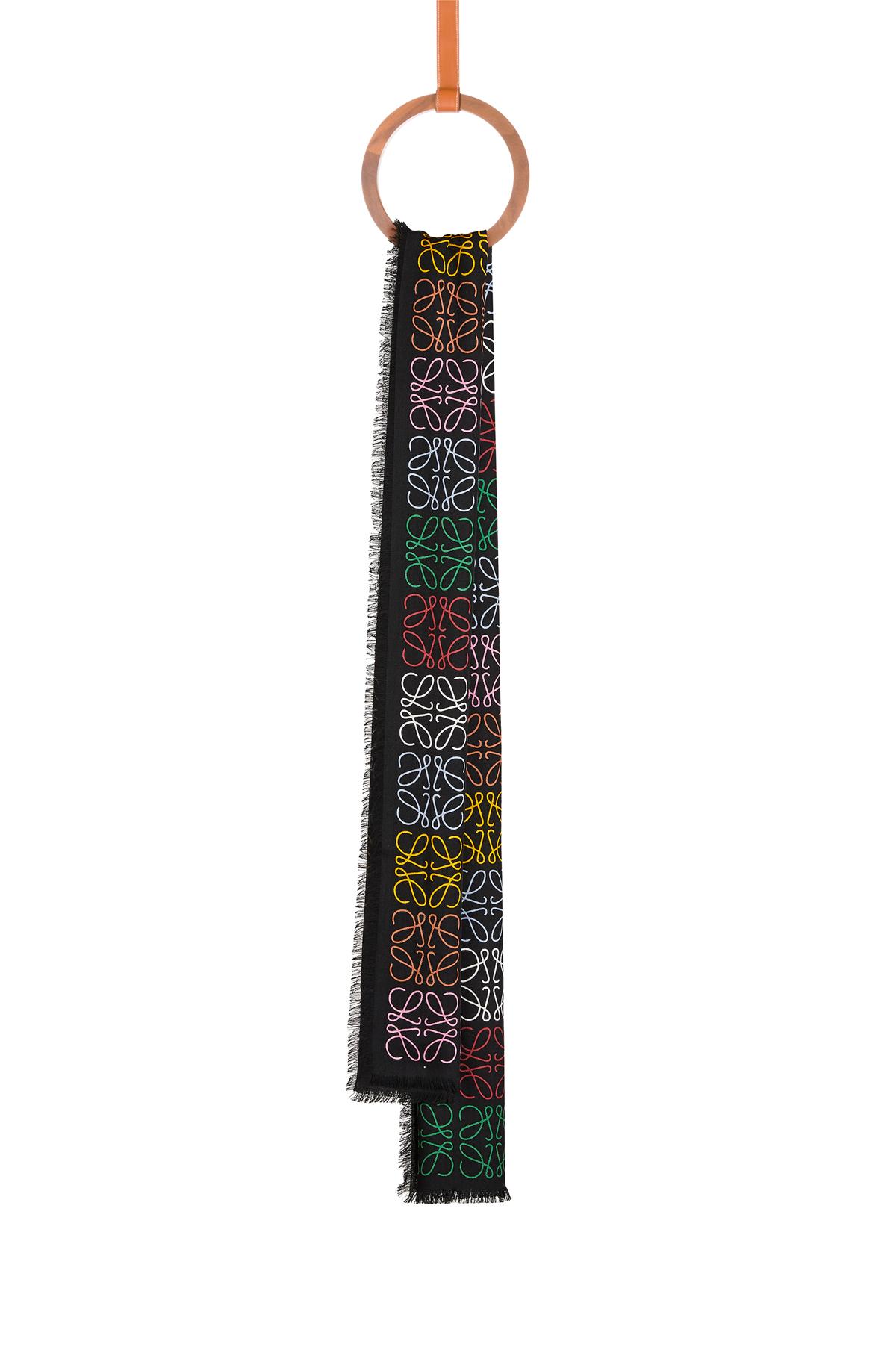 LOEWE 45X200 Scarf Anagram In Lines Multicolor/Black front