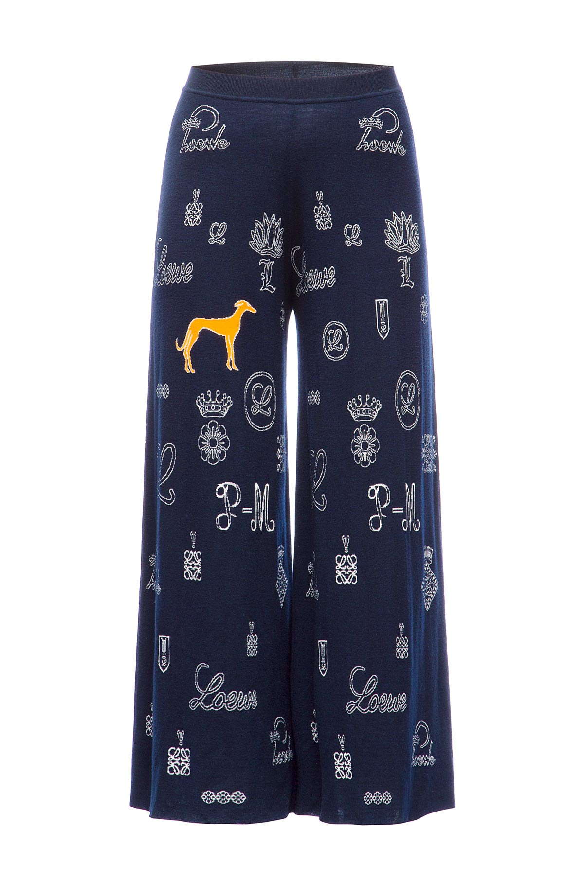 LOEWE Knit Trousers Logos Navy Blue front