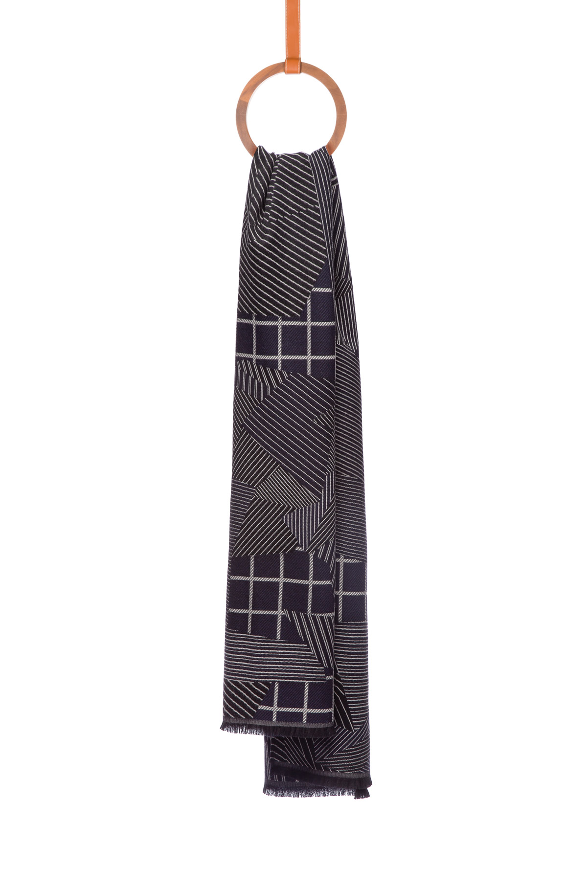 LOEWE 70X200 スカーフ パッチワーク グレイ/ブルー front