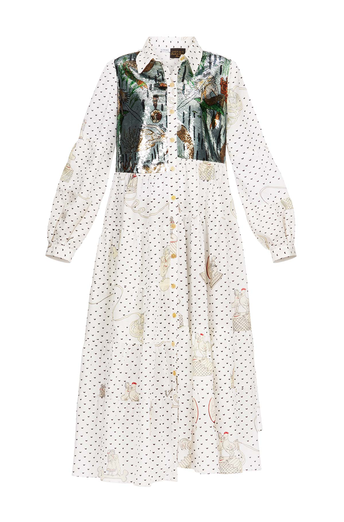 LOEWE Dress Paula Sequins White/Multicolor front