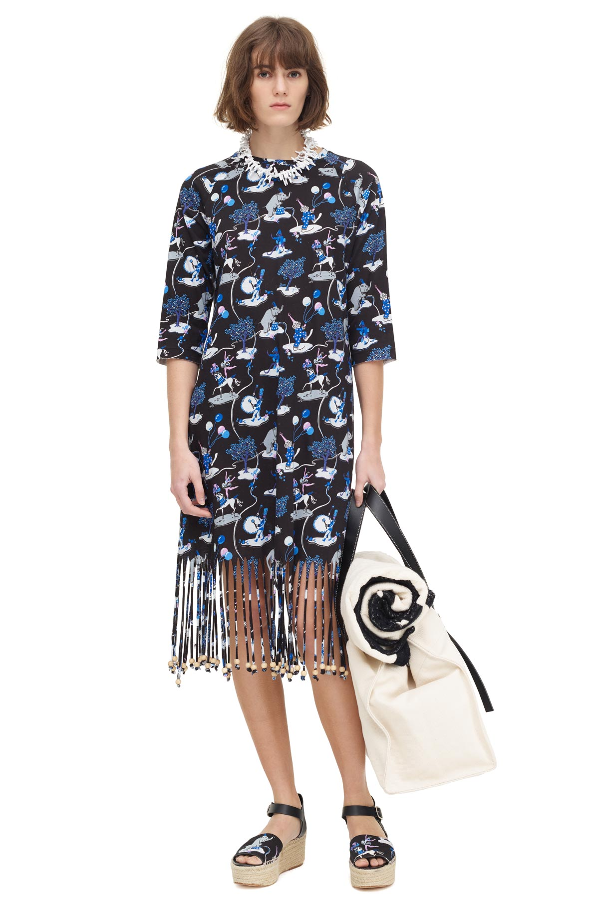 LOEWE Fringe Dress Paula Circus Black/White/Pink/Añil Blue front