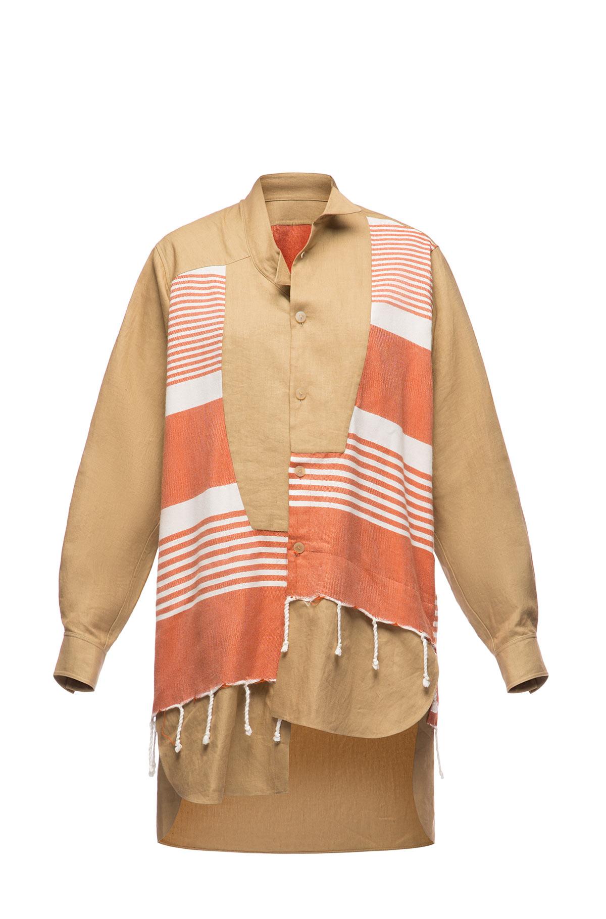 LOEWE Long Asymmetric Shirt Fouta Multicolor front