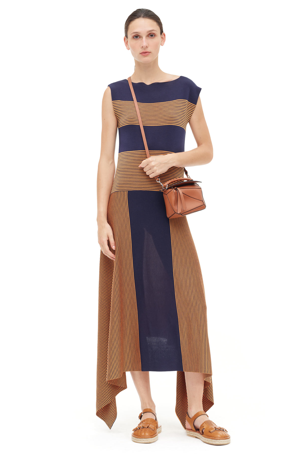 LOEWE Stripe Knit Dress Navy/Orange front