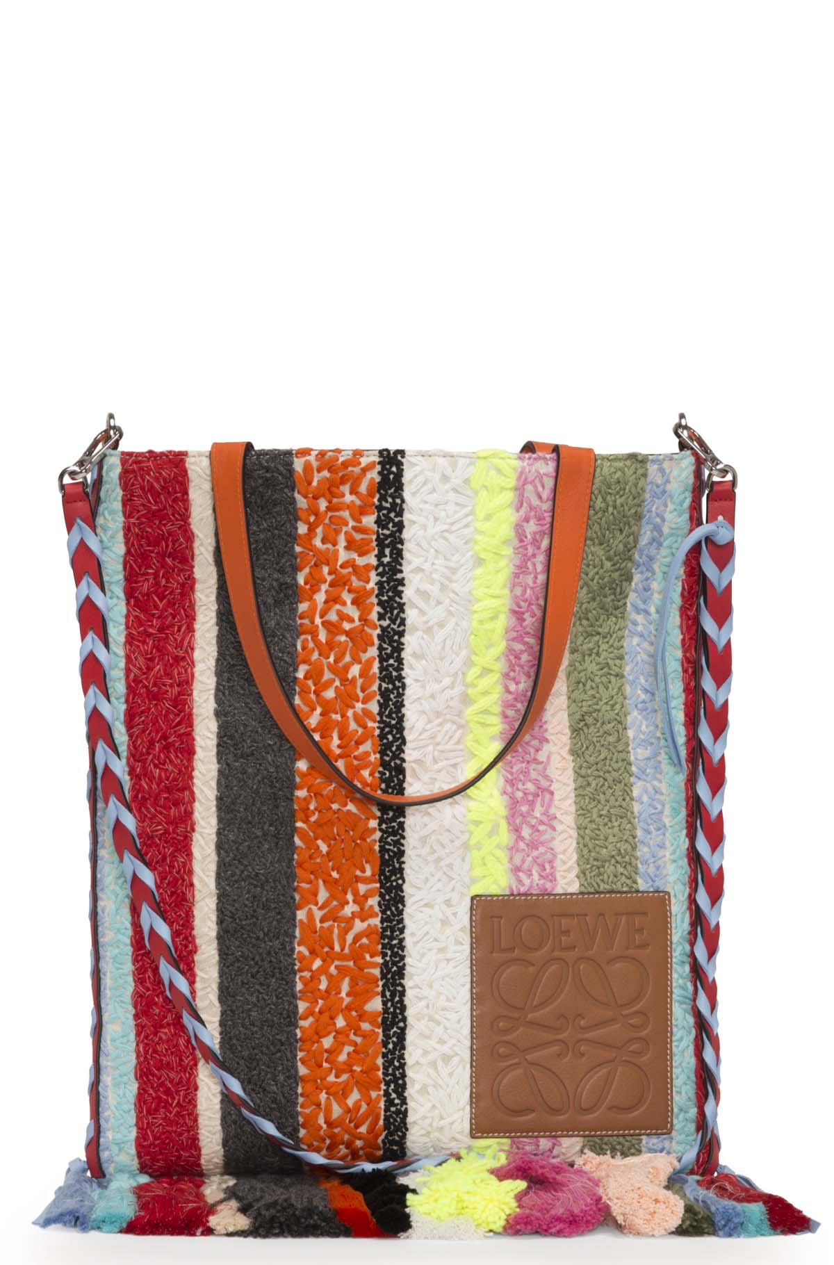LOEWE Vertical Tote Stripes Bag Multicolor front