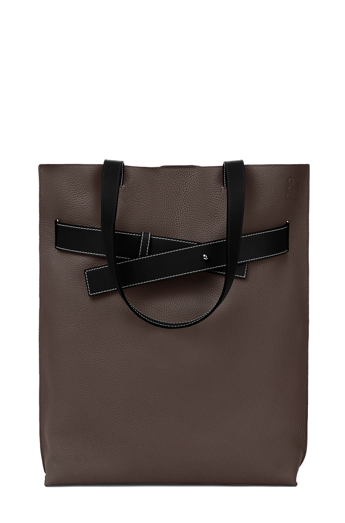LOEWE Strap Vertical Tote Bag Dark Grey/Black front