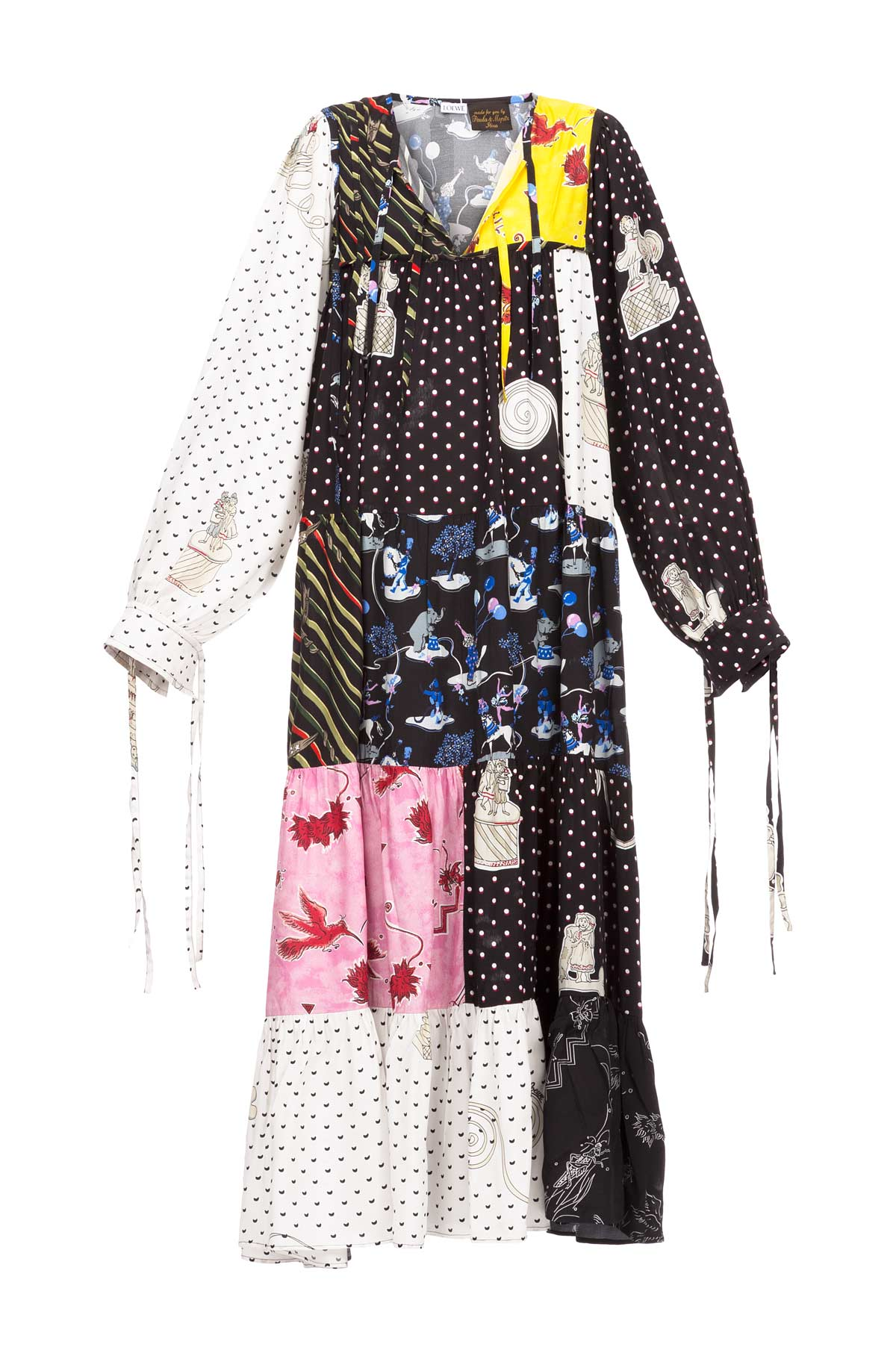 LOEWE Dress Paula Patchwork Black/Multicolor front